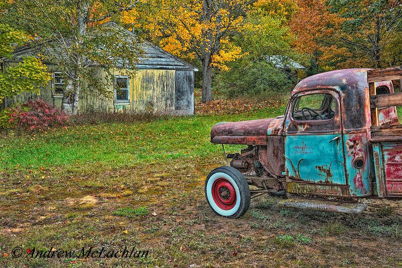 Rusty Old Wreck in Autumn, Muskoka, Ontario, Canada