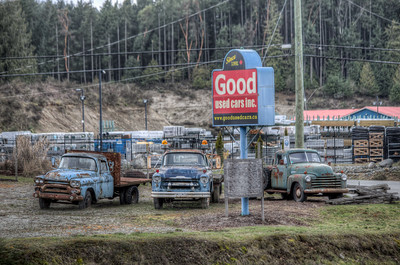 Rusty Trucks In A Row - Cowichan Valley, Vancouver Island, British Columbia, Canada