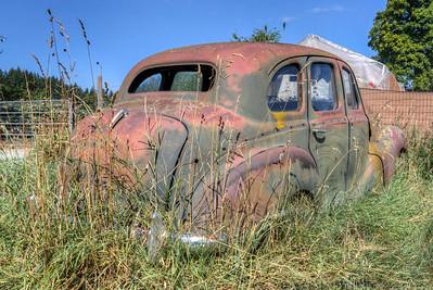 Rusty Car in Field - Cowichan Valley, Vancouver Island, British Columbia, Canada