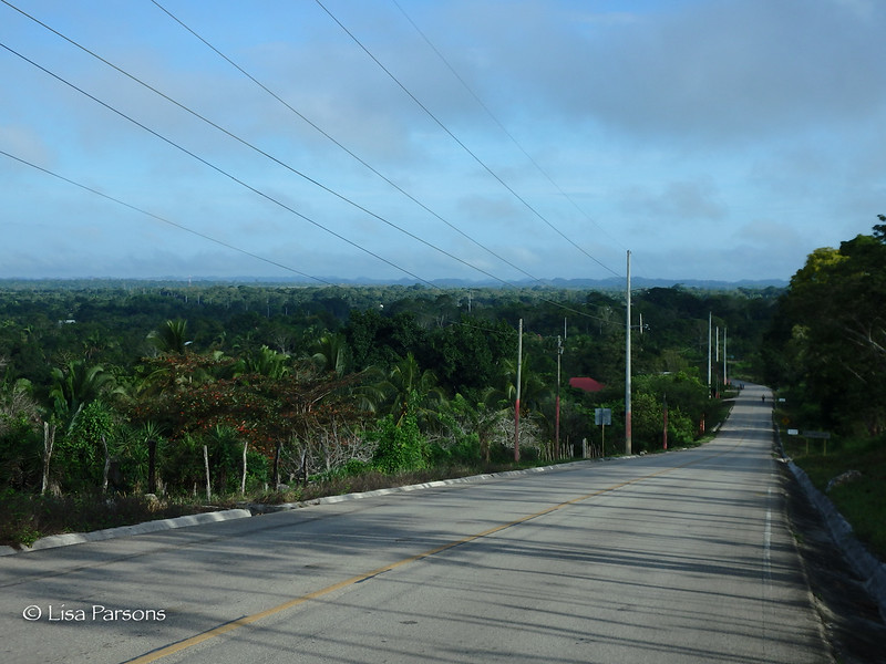 Long Straight Road to Flores as We Descend