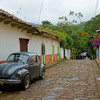 Side Street of Color with a Volkswagon Beetle