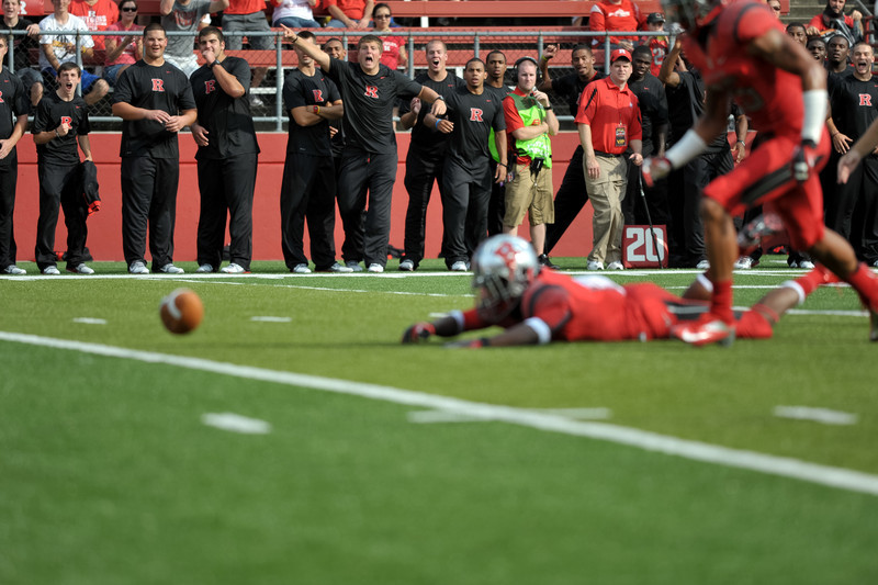Rutgers' recruits get excited by MILES SHULER's blocked punt the first half of Rutgers 26-0 victory over Howard.