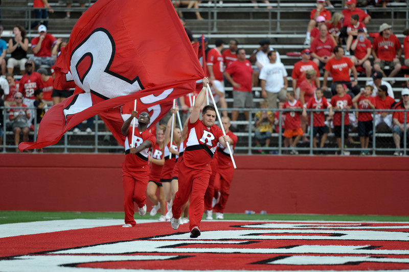 Rutgers cheerleaders celebrate after a first-half touchdown.