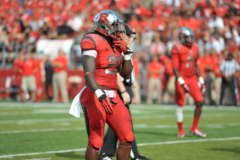 2011 Big East Defensive Player of the Year, Rutgers'. KHASEEM GREENE, prepares for his next play.