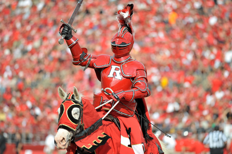 The Rutgers Scarlet Knight rides out on to the field after Rutgers scores its first touchdown.