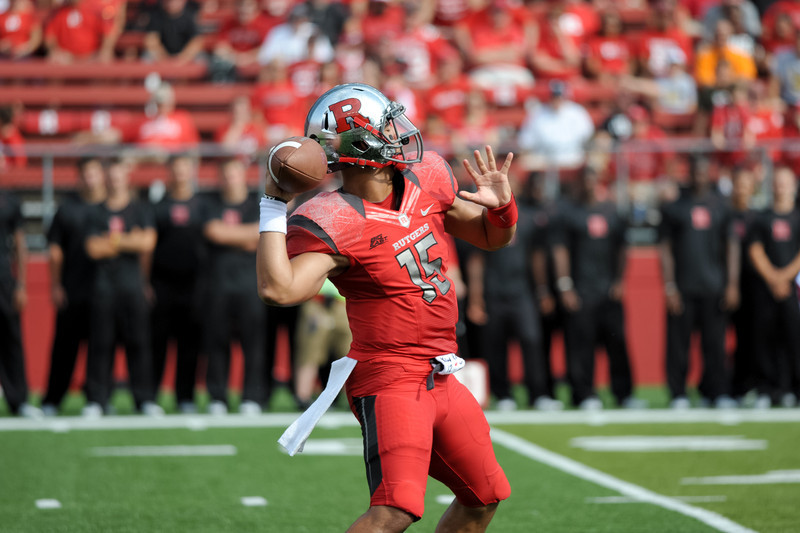 Rutgers' Quarterback, GARY NOVA (15), attempts a pass in the first half of Rutgers' 26-0 victory over Howard.