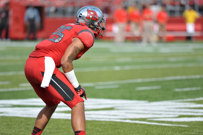 Rutgers' cornerback, Brandon Jones (25), prepares for a play against Howard.