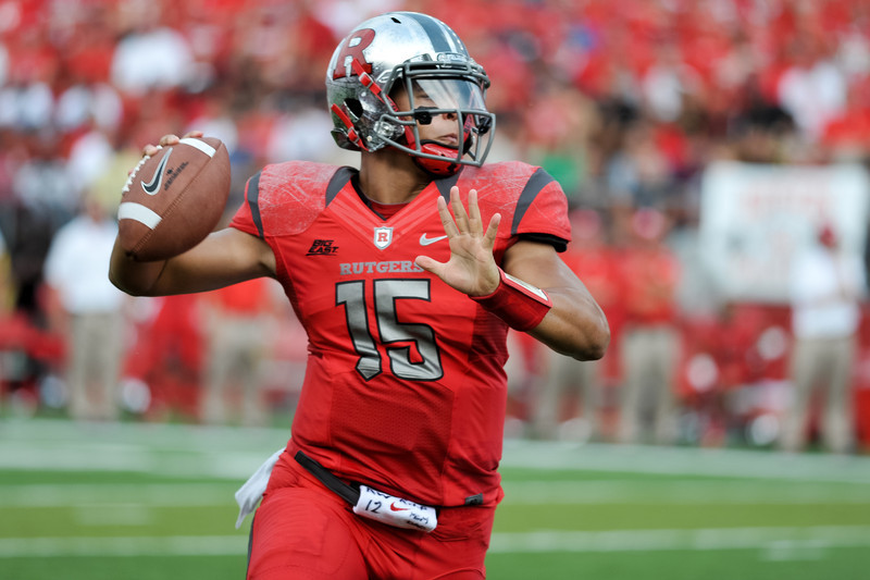 Rutgers' Quarterback, GARY NOVA (15), rolls out and looks to pass in the first half of Rutgers' 26-0 victory over Howard.