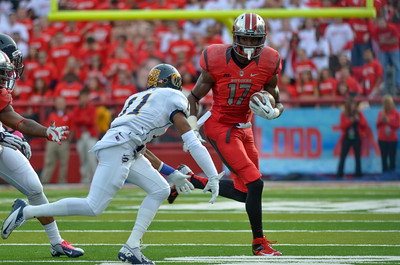 Rutgers wide receiver, BRANDON COLEMAN (17), looks to make a move on Kent State defensive back, NORMAN WOLFE JR. (11).