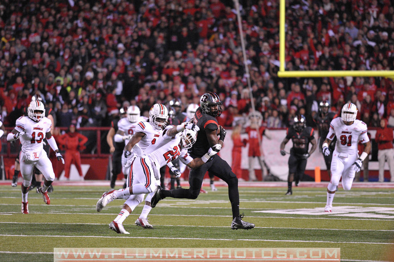 Rutgers wide receiver, BRANDON COLEMAN (17) catches a touchdown pass on Rutgers' opening drive in the de facto Big East championship game at Highpoint Solutions Stadium in Piscataway, New Jersey.