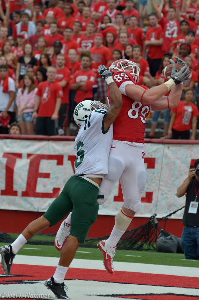 September 24, 2011- Paul Carrezola hauls in a touchdown pass in the 4th quarter of Rutgers' 38-26 victory over Ohio at Rutgers Stadium in Piscataway, New Jersey.