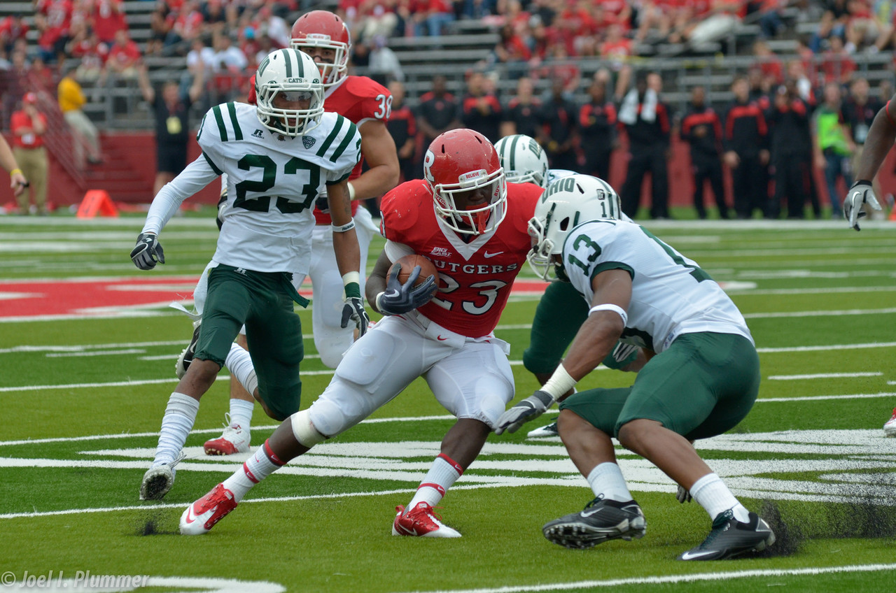 September 24, 2011- Rutgers running back, Jawan Jamison, cuts back against Ohio's defense.