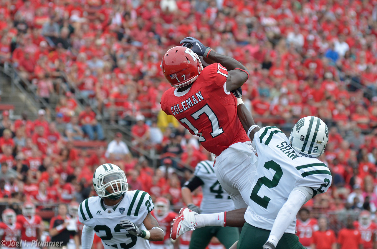 September 24, 2011- Rutgers' wide receiver, Brandon Coleman, goes up for for a pass over Ohio defenders,