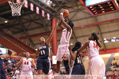 Rutgers guard, KAHLEAH COPPER (2), pulls up for a jump shot against Georgetown in a game at the Rutgers Athletic Center in Piscataway, New Jersey.