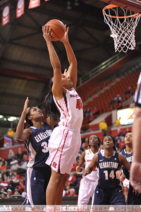 Rutgers forward, BETNIJAH LANEY (44), drives to the basket against Georgetown in a game at the Rutgers Athletic Center in Piscataway, New Jersey.