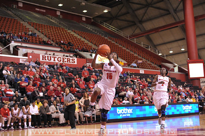 Rutgers guard, SYESSENCE DAVIS (15), drives to the basket against Georgetown in a game at the Rutgers Athletic Center in Piscataway, New Jersey.