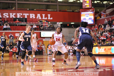 Rutgers guard, SHAKEENAH RICHARDSON (24), looks to drive to the basket against Georgetown in a game at the Rutgers Athletic Center in Piscataway, New Jersey.
