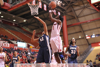 Rutgers guard, KAHLEAH COPPER (2), drives to the basket against Georgetown in a game at the Rutgers Athletic Center in Piscataway, New Jersey.