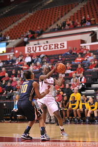 Rutgers guard, KAHLEAH COOPER (2), looks to pass to a teammate against La Salle University in a game at the Rutgers Athletic Center in Piscataway, New Jersey.