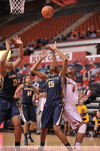 Rutgers forward, ARIEL BUTTS (43), drives to the basket against La Salle University in a game at the Rutgers Athletic Center in Piscataway, New Jersey.