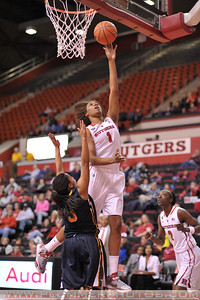 Rutgers forward, RACHEL HOLLIVAY (1), drives to the basket against La Salle University in a game at the Rutgers Athletic Center in Piscataway, New Jersey.