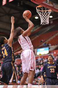 Rutgers forward, RACHEL HOLLLIVAY (1), drives to the basket against La Salle University in a game at the Rutgers Athletic Center in Piscataway, New Jersey.