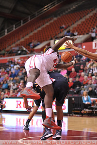 Rutgers forward, CHELSEY LEE (50), battles for a rebound against La Salle University in a game at the Rutgers Athletic Center in Piscataway, New Jersey.