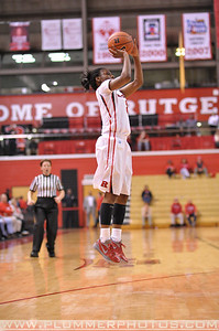 Rutgers guard, ERICA WHEELER (3), pulls up for a jump shot against Providence College in a game at the Rutgers Athletic Center in Piscataway, New Jersey.