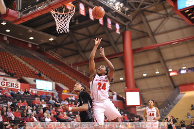 Rutgers guard, SHAKEENAH RICHARDSON (24), drives to the basket against Providence College in a game at the Rutgers Athletic Center in Piscataway, New Jersey.
