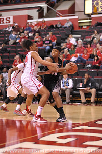 Rutgers guard, BETNIJAH LANEY (44), pressures a Providence College ball handler in a game at the Rutgers Athletic Center in Piscataway, New Jersey.