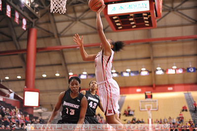 Rutgers forward, BETNIJAH LANEY (44), drives to the basket against Providence College in a game at the Rutgers Athletic Center in Piscataway, New Jersey.