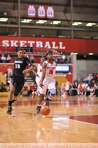Rutgers guard, SYESSENCE DAVIS (15), prepares to drives to the basket against Providence College in a game at the Rutgers Athletic Center in Piscataway, New Jersey.