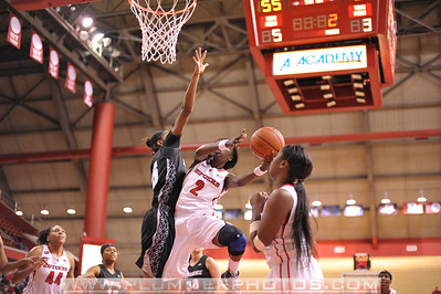 Rutgers guard, KAHLEAH COPPER (2), drives to the basket against Providence College in a game at the Rutgers Athletic Center in Piscataway, New Jersey.