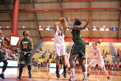 Rutgers forward, BETNIJAH LANEY (44), pulls up for a jump shot against South Florida in a game at the Rutgers Athletic Center in Piscataway, New Jersey.