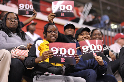 Rutgers fans celebrate Rutgers' Head Coach, C. Vivian Stringer's, 900th career victory after Rutgers defeated South Florida in a game at the Rutgers Athletic Center in Piscataway, New Jersey.