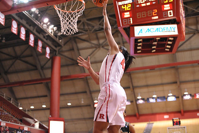 Rutgers forward, BETNIJAH LANEY (44), drives to the basket against South Florida in a game at the Rutgers Athletic Center in Piscataway, New Jersey.