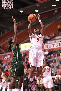 Rutgers guard, KAHLEAH COPPER (2), drives to the basket against South Florida in a game at the Rutgers Athletic Center in Piscataway, New Jersey.