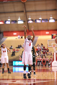 Rutgers guard, ERICA WHEELER (3), knocks down a free throw against South Florida in a game at the Rutgers Athletic Center in Piscataway, New Jersey.
