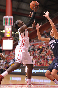 Rutgers forward, CHELSEY LEE (52), drives to the basket against Villanova in a game at the Rutgers Athletic Center in Piscataway, New Jersey.