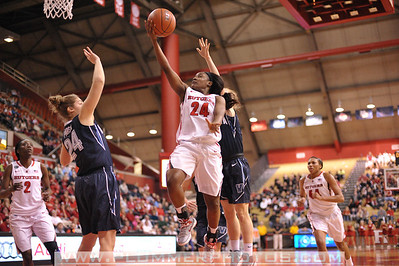 Rutgers guard, SHAKEENAH RICHARDSON (24), drives to the basket against Villanova in a game at the Rutgers Athletic Center in Piscataway, New Jersey.