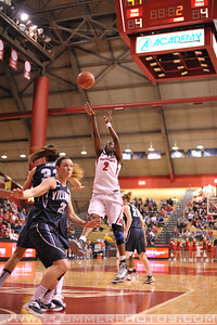 Rutgers guard, KAHLEAH COPPER (2), pulls up for a jump shot against Villanova in a game at the Rutgers Athletic Center in Piscataway, New Jersey.