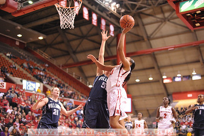 Rutgers forward, BETNIJAH LANEY (44), drives to the basket against Villanova in a game at the Rutgers Athletic Center in Piscataway, New Jersey.