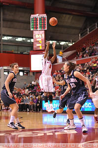 Rutgers guard, ERICA WHEELER (3), pulls up for a jump shot against Villanova in a game at the Rutgers Athletic Center in Piscataway, New Jersey.