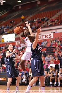 Rutgers guard, KAHLEAH COPPER (2), drives to the basket against Villanova in a game at the Rutgers Athletic Center in Piscataway, New Jersey.
