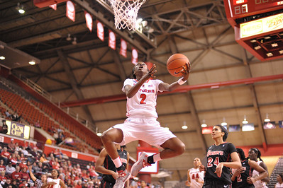 Rutgers guard, KAHLEAH COPPER (2), drives to the basket against St. John's University in a game at the Rutgers Athletic Center in Piscataway, New Jersey.