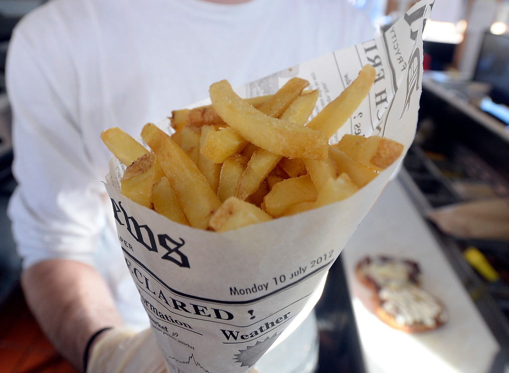 . BOULDER, CO - December 11, 2018:  A large order of fries. Ruthie\'s Boardwalk Social on the Pearl Street Mall is reviewed. (Photo by Cliff Grassmick/Staff Photographer)