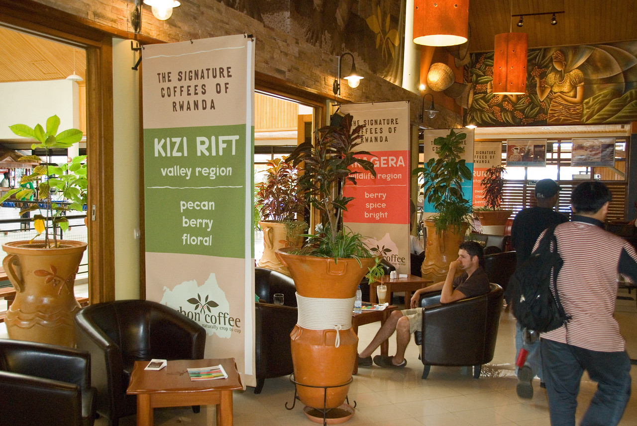 This is the Bourbon Coffee cafe in Kigali, the largest of several.  I have never seen a specialty cafe anywhere as large and luxurious as this one!  See the next three photos....