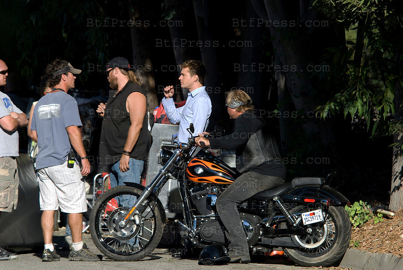 "Ryan Philippe during the set of "" The Lincoln Lawyer"" with Matthew McConaughey in Pasadena,California"