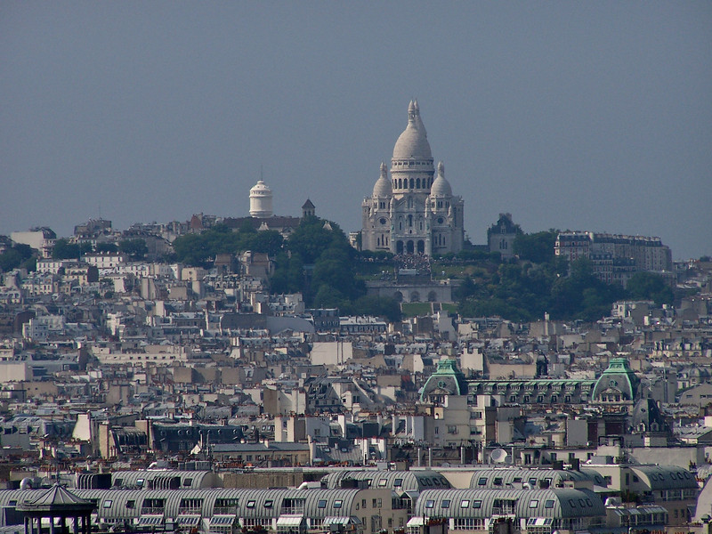 Cathedral in Paris Montmartre from Notre Dame Cathedral