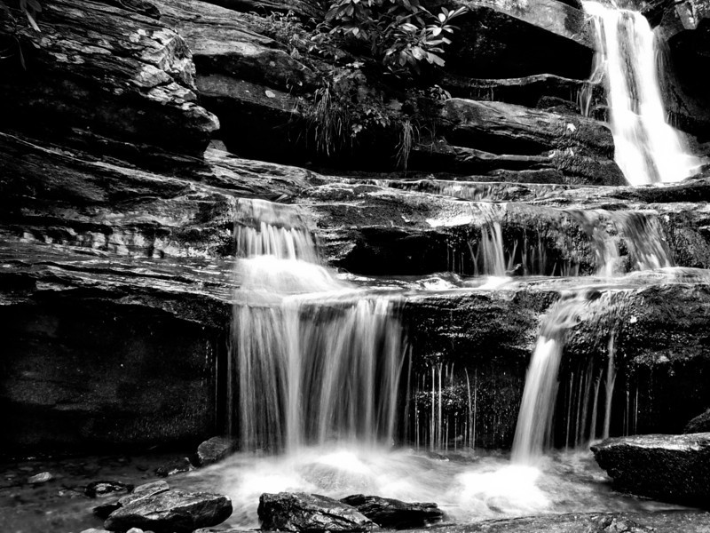 Black and White of HIDDEN FALLS at Hanging Rock State Park, North Carolina.